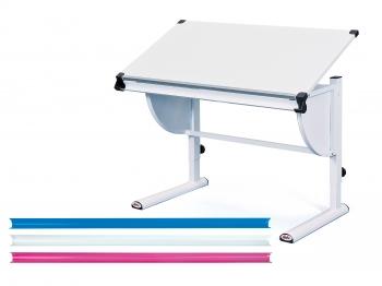 Interlink Kinder Schreibtisch Milo 3 in1 weiss - Schülerschreibtisch weiss höhenverstellbar