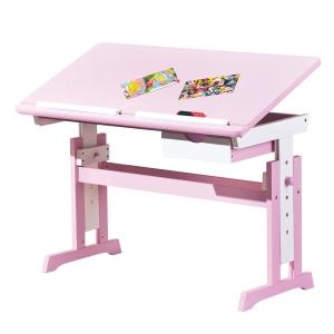 Interlink Kinder Schreibtisch Cecilia - Schülerschreibtisch weiss - rosa höhenverstellbar