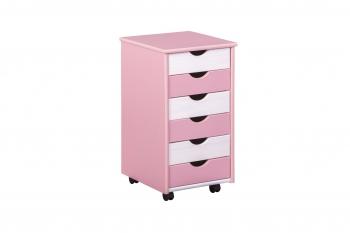 Rollcontainer Pierre für Schreibtisch weiß pink- Interlink Schubladenschrank
