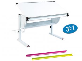 Interlink Kinder Schreibtisch Matts 3 in 1 weiß - Schülerschreibtisch weiss höhenverstellbar