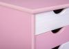 Rollcontainer Pierre für Schreibtisch weiss pink- Interlink Schubladenschrank