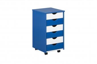 Rollcontainer Beppo für Schreibtisch blau - weiss Interlink Schubladenschrank