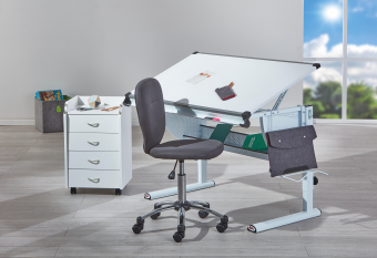 Mega Angebot 3er SET grau - Schreibtisch - Rollcontainer - Drehstuhl